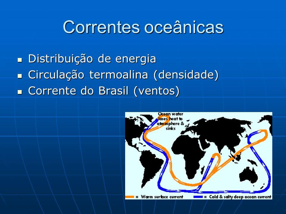 Correntes oceânicas Distribuição de energia Distribuição de energia Circulação termoalina (densidade) Circulação termoalina (densidade) Corrente do Br