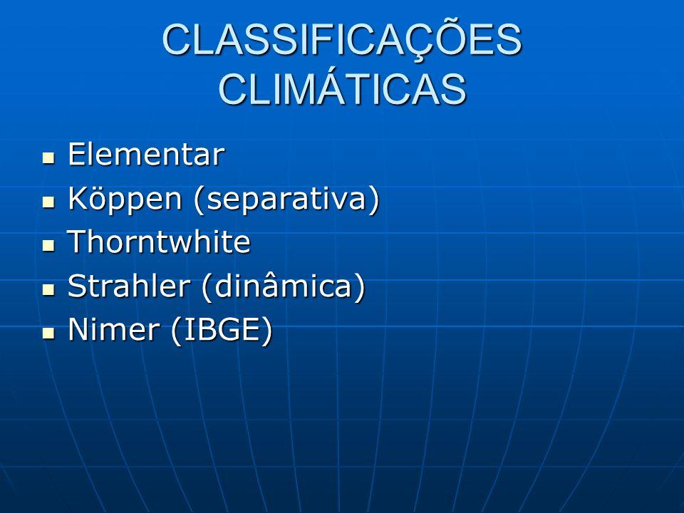 CLASSIFICAÇÕES CLIMÁTICAS Elementar Elementar Köppen (separativa) Köppen (separativa) Thorntwhite Thorntwhite Strahler (dinâmica) Strahler (dinâmica)