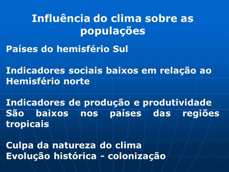 Influência do clima sobre as populações Países do hemisfério Sul Indicadores sociais baixos em relação ao Hemisfério norte Indicadores de produção e p