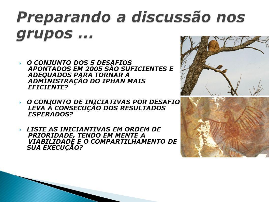 O CONJUNTO DOS 5 DESAFIOS APONTADOS EM 2005 SÃO SUFICIENTES E ADEQUADOS PARA TORNAR A ADMINISTRAÇÃO DO IPHAN MAIS EFICIENTE.
