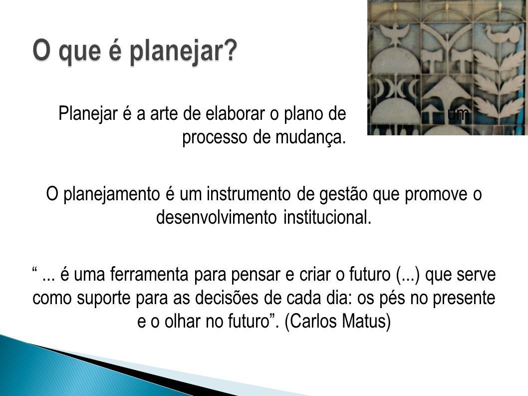 Planejar é a arte de elaborar o plano de um processo de mudança.