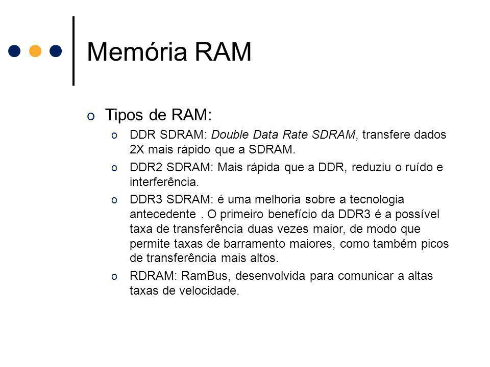 Memória RAM o Tipos de RAM: o DDR SDRAM: Double Data Rate SDRAM, transfere dados 2X mais rápido que a SDRAM. o DDR2 SDRAM: Mais rápida que a DDR, redu