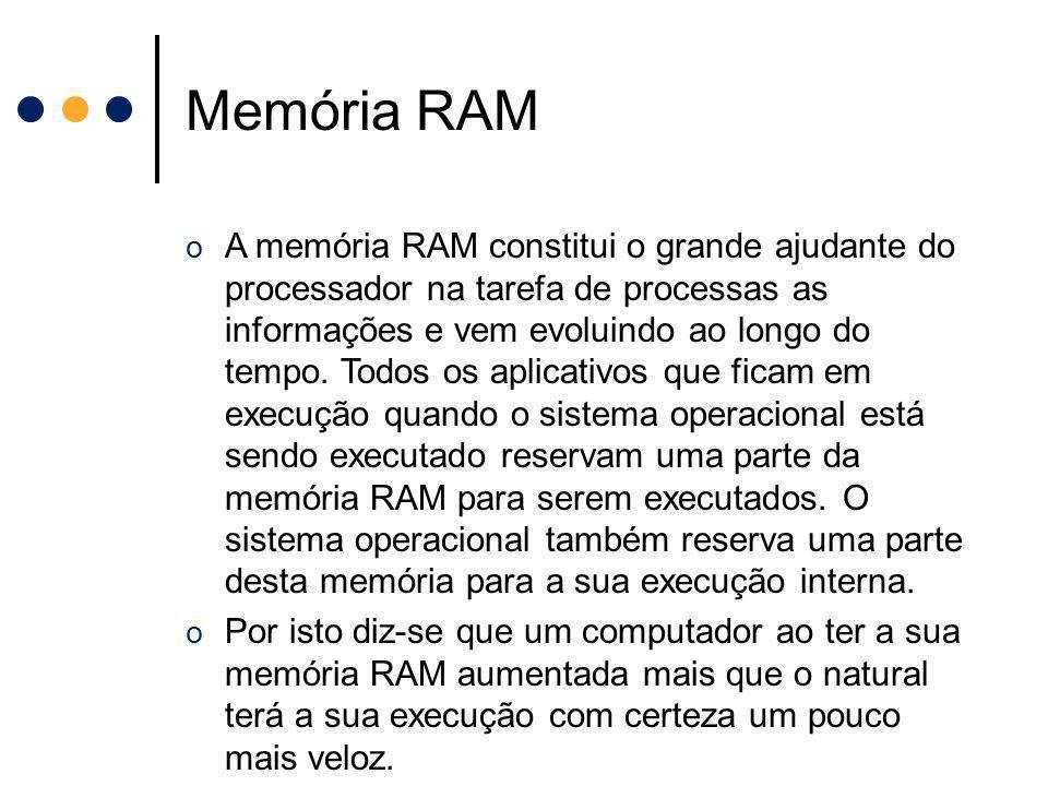 o A memória RAM constitui o grande ajudante do processador na tarefa de processas as informações e vem evoluindo ao longo do tempo. Todos os aplicativ