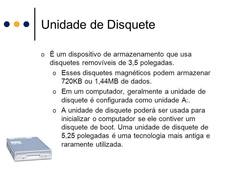 Unidade de Disquete o É um dispositivo de armazenamento que usa disquetes removíveis de 3,5 polegadas. o Esses disquetes magnéticos podem armazenar 72