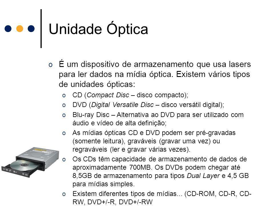 Unidade Óptica o É um dispositivo de armazenamento que usa lasers para ler dados na mídia óptica. Existem vários tipos de unidades ópticas: o CD (Comp