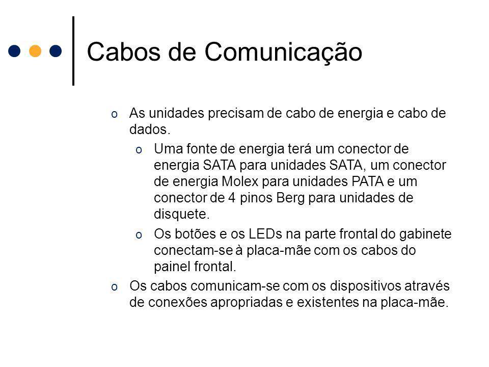 Cabos de Comunicação o As unidades precisam de cabo de energia e cabo de dados. o Uma fonte de energia terá um conector de energia SATA para unidades