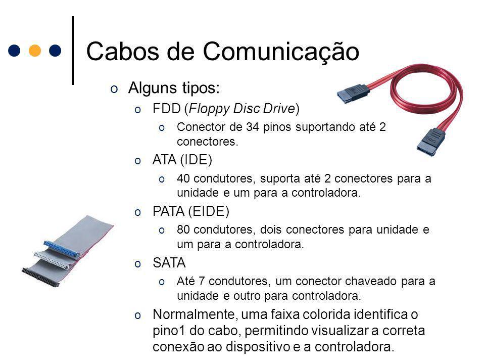 Cabos de Comunicação o Alguns tipos: o FDD (Floppy Disc Drive) o Conector de 34 pinos suportando até 2 conectores. o ATA (IDE) o 40 condutores, suport