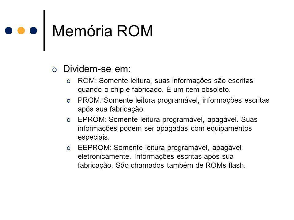 Memória ROM o Dividem-se em: o ROM: Somente leitura, suas informações são escritas quando o chip é fabricado. É um item obsoleto. o PROM: Somente leit