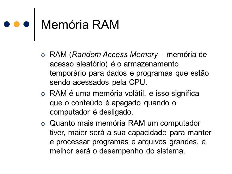Memória RAM o RAM (Random Access Memory – memória de acesso aleatório) é o armazenamento temporário para dados e programas que estão sendo acessados p