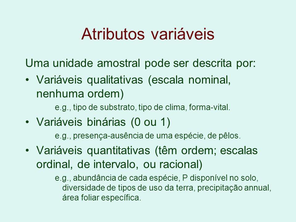 Atributos variáveis Uma unidade amostral pode ser descrita por: Variáveis qualitativas (escala nominal, nenhuma ordem) e.g., tipo de substrato, tipo d