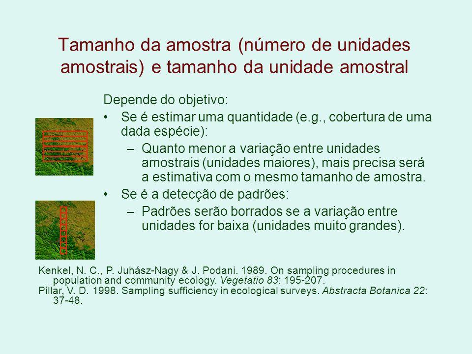 Tamanho da amostra (número de unidades amostrais) e tamanho da unidade amostral Depende do objetivo: Se é estimar uma quantidade (e.g., cobertura de u