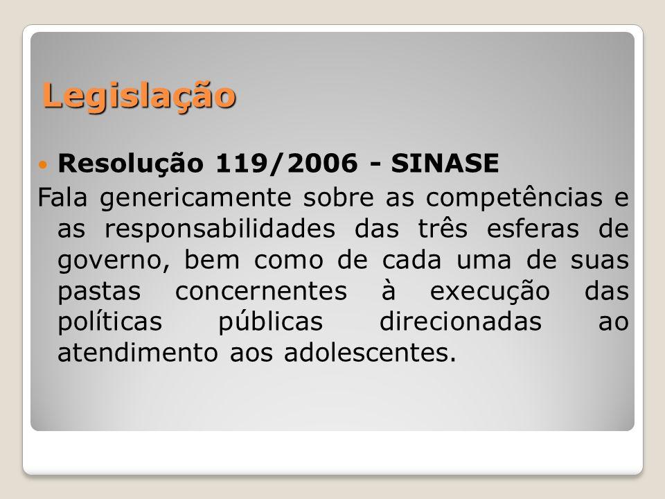 Legislação Resolução 119/2006 - SINASE Fala genericamente sobre as competências e as responsabilidades das três esferas de governo, bem como de cada u