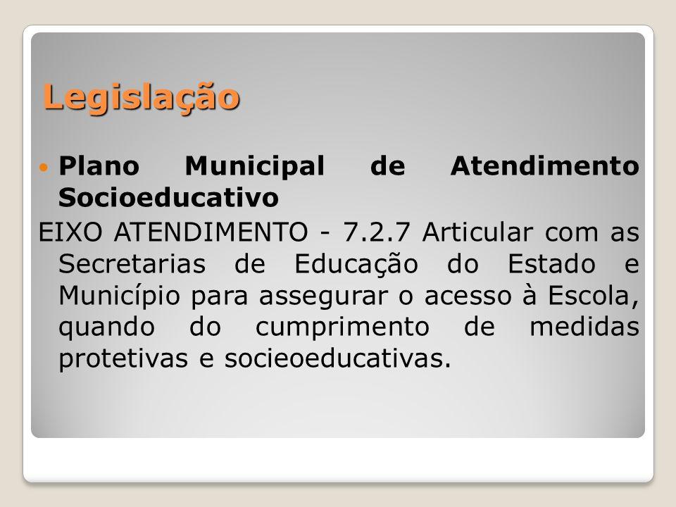 Legislação Plano Municipal de Atendimento Socioeducativo EIXO ATENDIMENTO - 7.2.7 Articular com as Secretarias de Educação do Estado e Município para