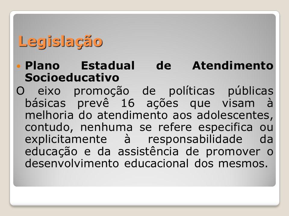 Legislação Plano Estadual de Atendimento Socioeducativo O eixo promoção de políticas públicas básicas prevê 16 ações que visam à melhoria do atendimen
