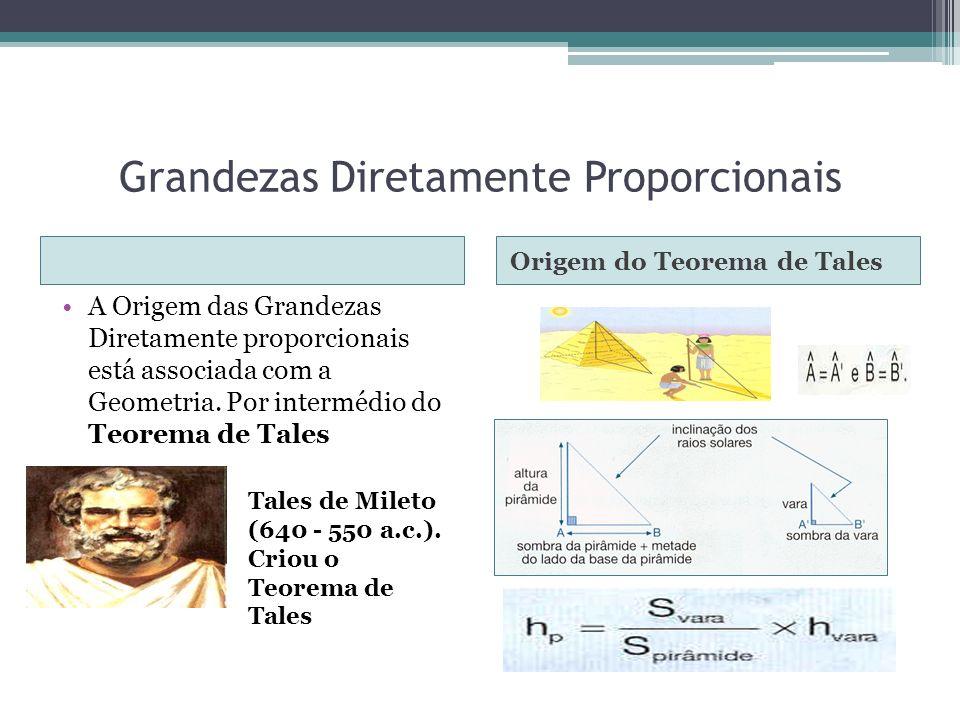 Grandezas Diretamente Proporcionais Origem do Teorema de Tales A Origem das Grandezas Diretamente proporcionais está associada com a Geometria. Por in