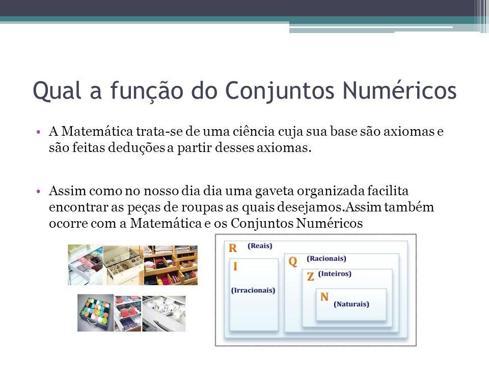Qual a função do Conjuntos Numéricos A Matemática trata-se de uma ciência cuja sua base são axiomas e são feitas deduções a partir desses axiomas. Ass