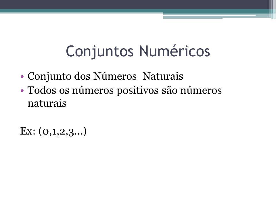 Conjuntos Numéricos Conjunto dos Números Naturais Todos os números positivos são números naturais Ex: (0,1,2,3...)