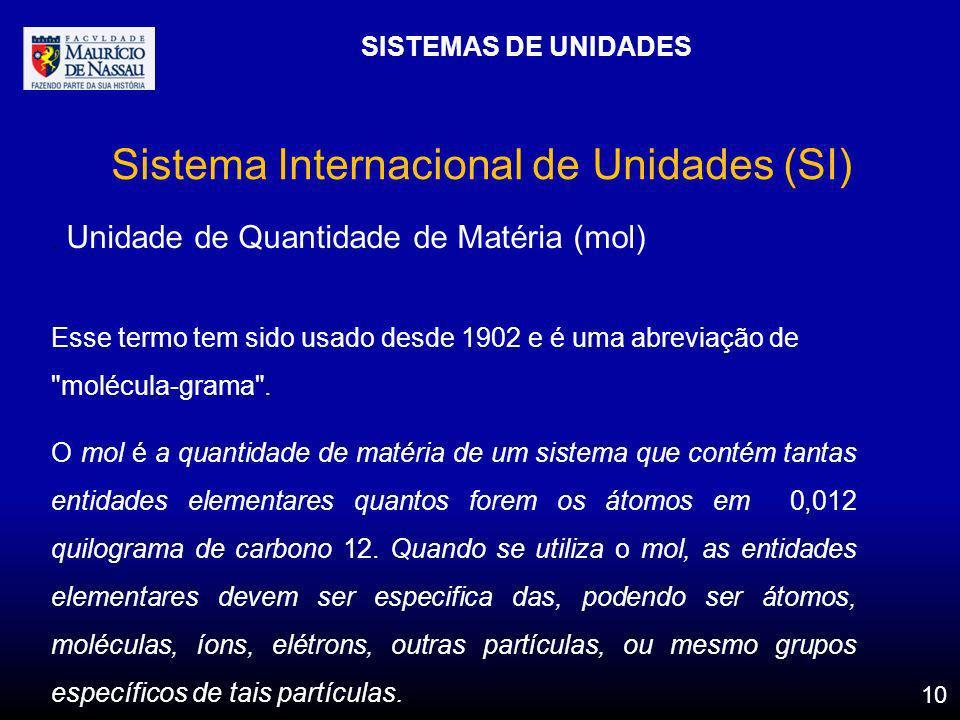 SISTEMAS DE UNIDADES 10 Sistema Internacional de Unidades (SI). Unidade de Quantidade de Matéria (mol) Esse termo tem sido usado desde 1902 e é uma ab