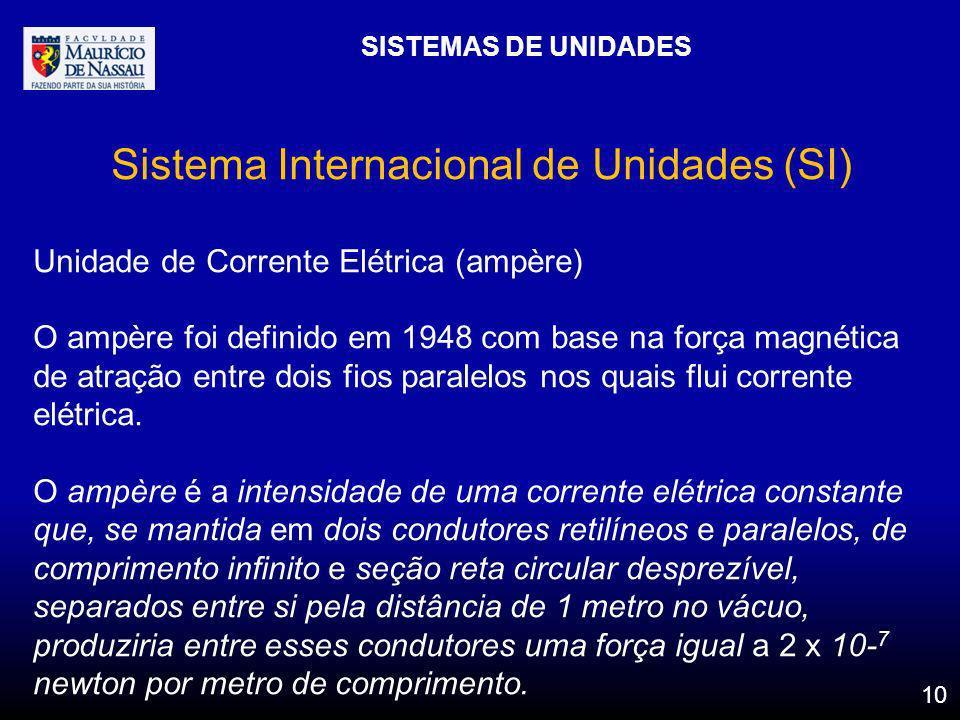 SISTEMAS DE UNIDADES 10 Sistema Internacional de Unidades (SI) Unidade de Corrente Elétrica (ampère) O ampère foi definido em 1948 com base na força m