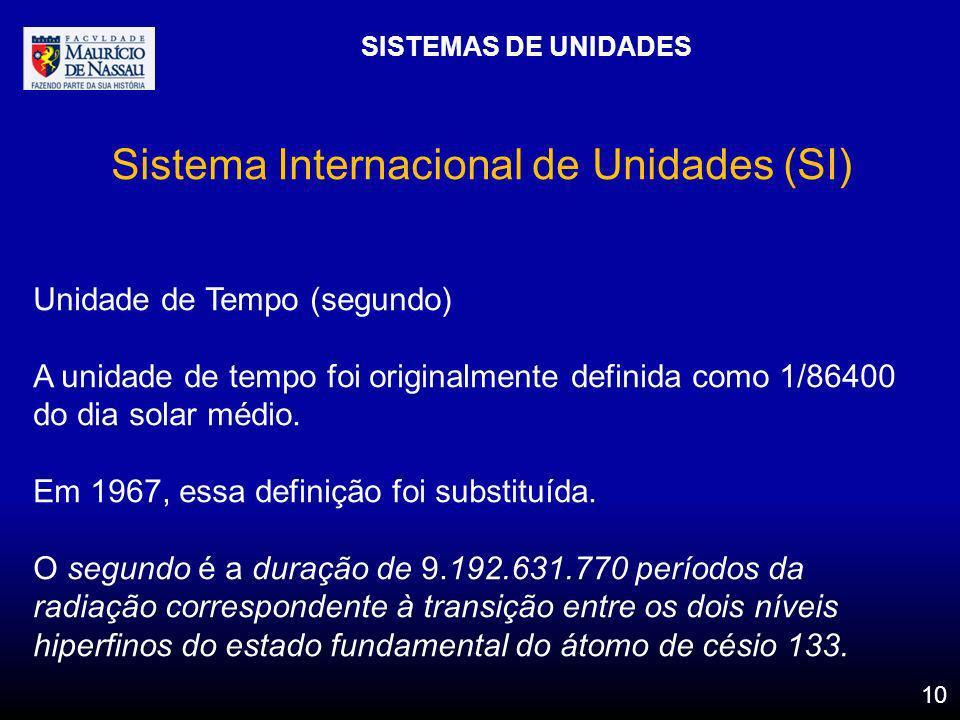 SISTEMAS DE UNIDADES 10 Sistema Internacional de Unidades (SI) Unidade de Tempo (segundo) A unidade de tempo foi originalmente definida como 1/86400 d