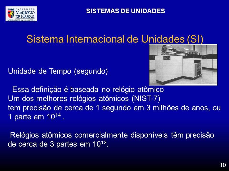 SISTEMAS DE UNIDADES 10 Sistema Internacional de Unidades (SI) Unidade de Tempo (segundo) Essa definição é baseada no relógio atômico Um dos melhores