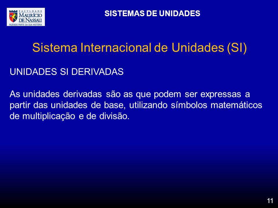 SISTEMAS DE UNIDADES 11 Sistema Internacional de Unidades (SI) UNIDADES SI DERIVADAS As unidades derivadas são as que podem ser expressas a partir das