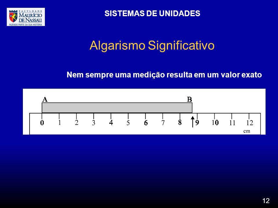 SISTEMAS DE UNIDADES 12 Algarismo Significativo Nem sempre uma medição resulta em um valor exato