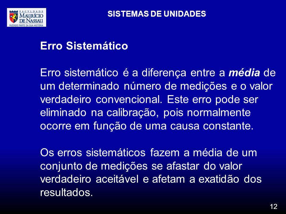 SISTEMAS DE UNIDADES 12 Erro Sistemático Erro sistemático é a diferença entre a média de um determinado número de medições e o valor verdadeiro conven