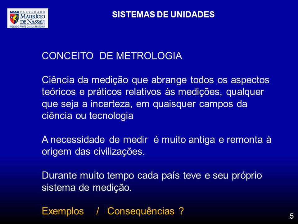 SISTEMAS DE UNIDADES 5 CONCEITO DE METROLOGIA Ciência da medição que abrange todos os aspectos teóricos e práticos relativos às medições, qualquer que