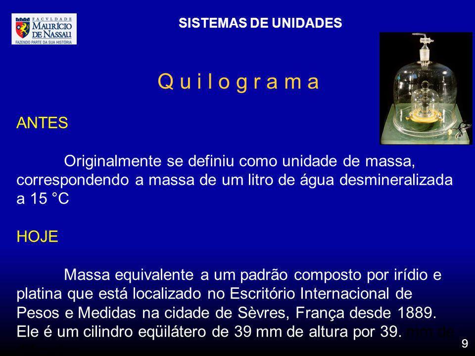 SISTEMAS DE UNIDADES 9 Q u i l o g r a m a ANTES Originalmente se definiu como unidade de massa, correspondendo a massa de um litro de água desmineral
