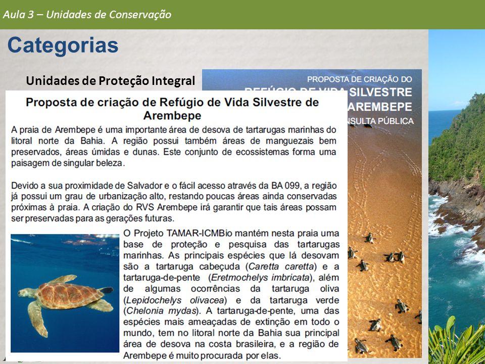 Aula 3 – Unidades de Conservação Categorias Unidades de Proteção Integral 5.Refúgio de Vida Silvestre ICMBio