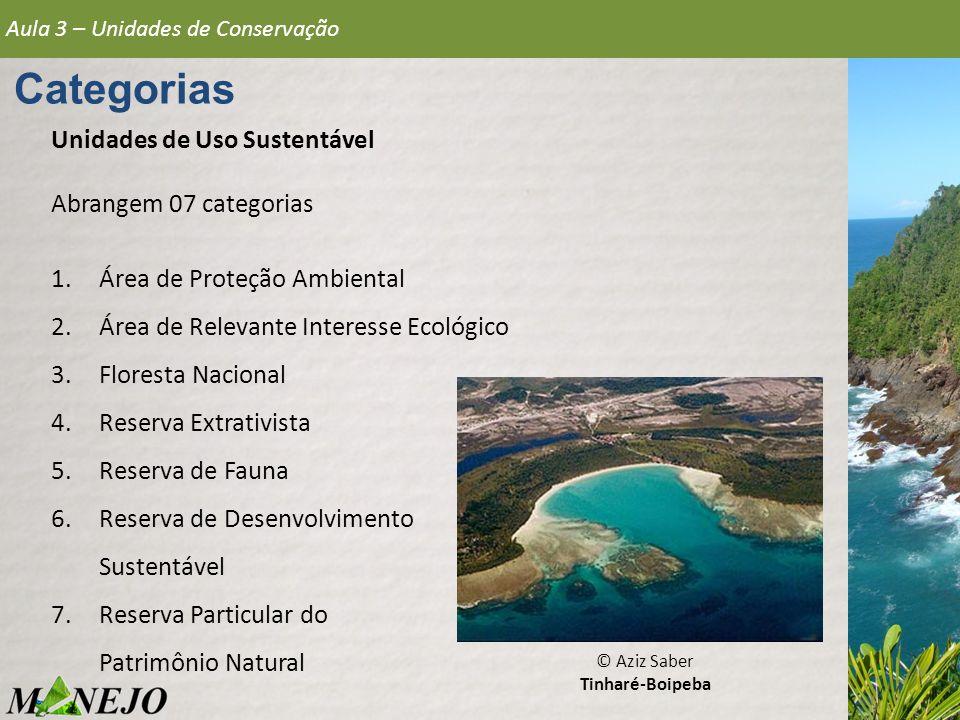 Aula 3 – Unidades de Conservação Categorias Unidades de Uso Sustentável Abrangem 07 categorias 1.Área de Proteção Ambiental 2.Área de Relevante Intere