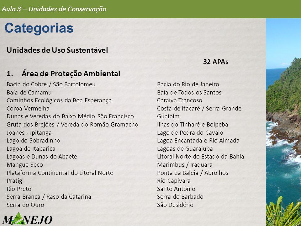 Aula 3 – Unidades de Conservação Categorias Unidades de Uso Sustentável 1.Área de Proteção Ambiental Bacia do Cobre / São Bartolomeu Bacia do Rio de J
