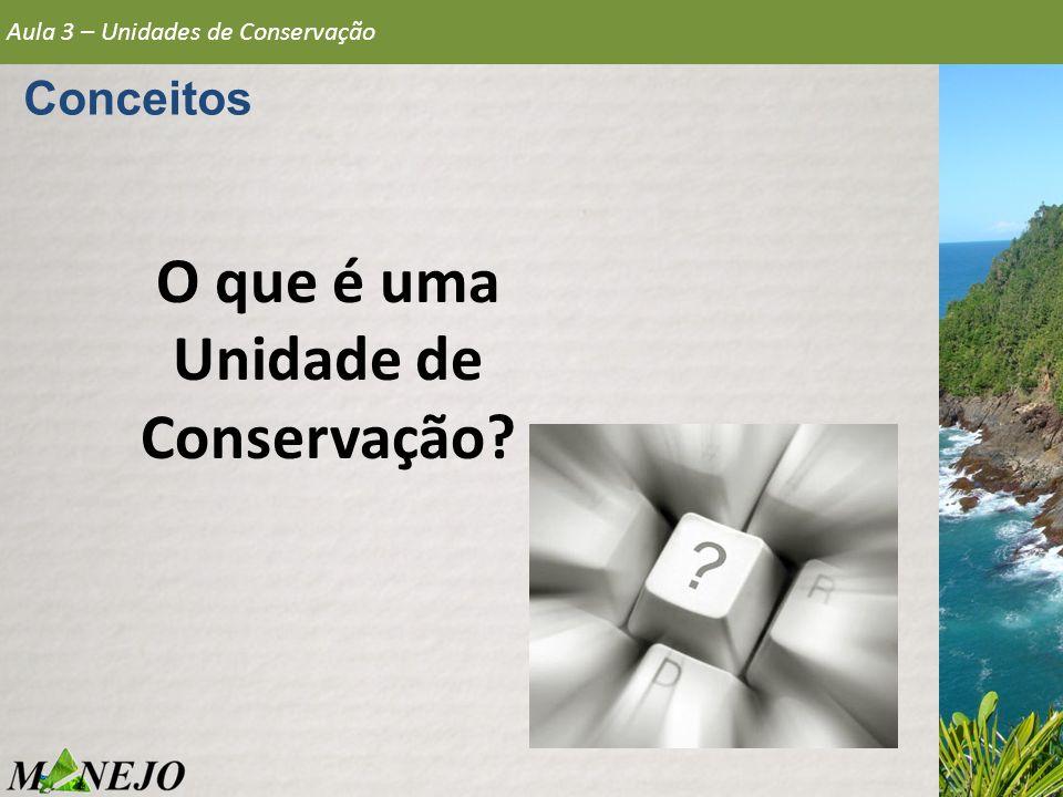 Conceitos O que é uma Unidade de Conservação? Aula 3 – Unidades de Conservação