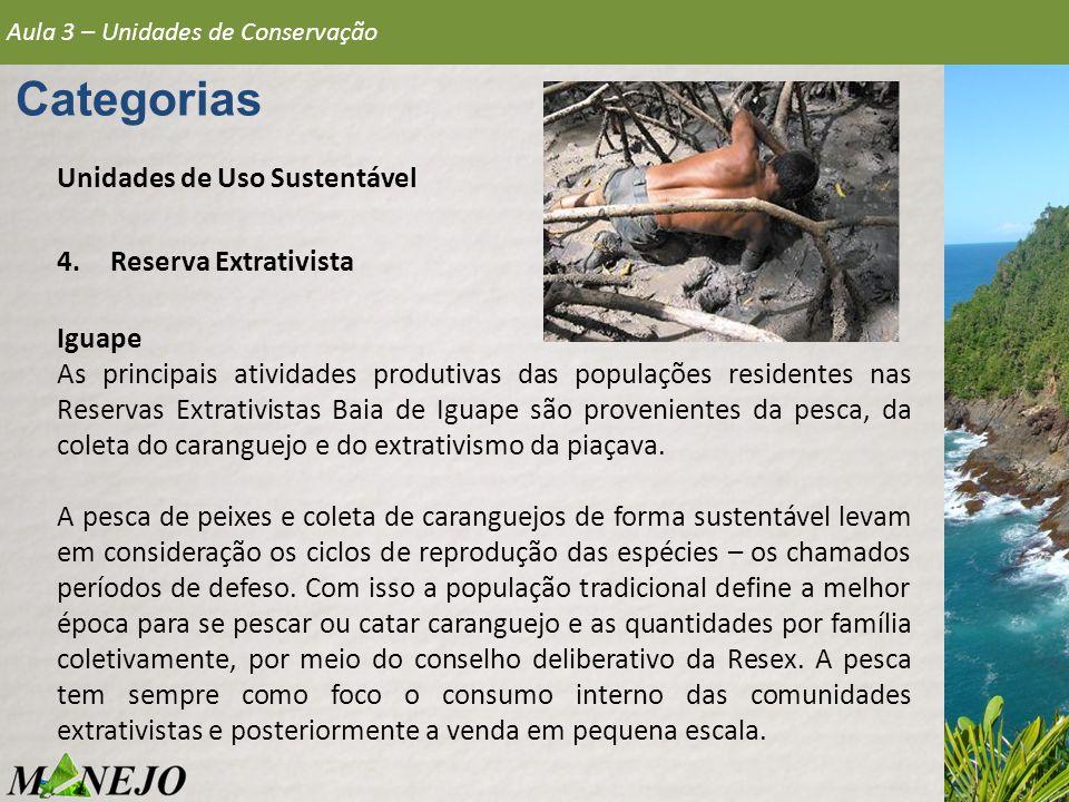 Aula 3 – Unidades de Conservação Categorias Unidades de Uso Sustentável 4.Reserva Extrativista Iguape As principais atividades produtivas das populaçõ