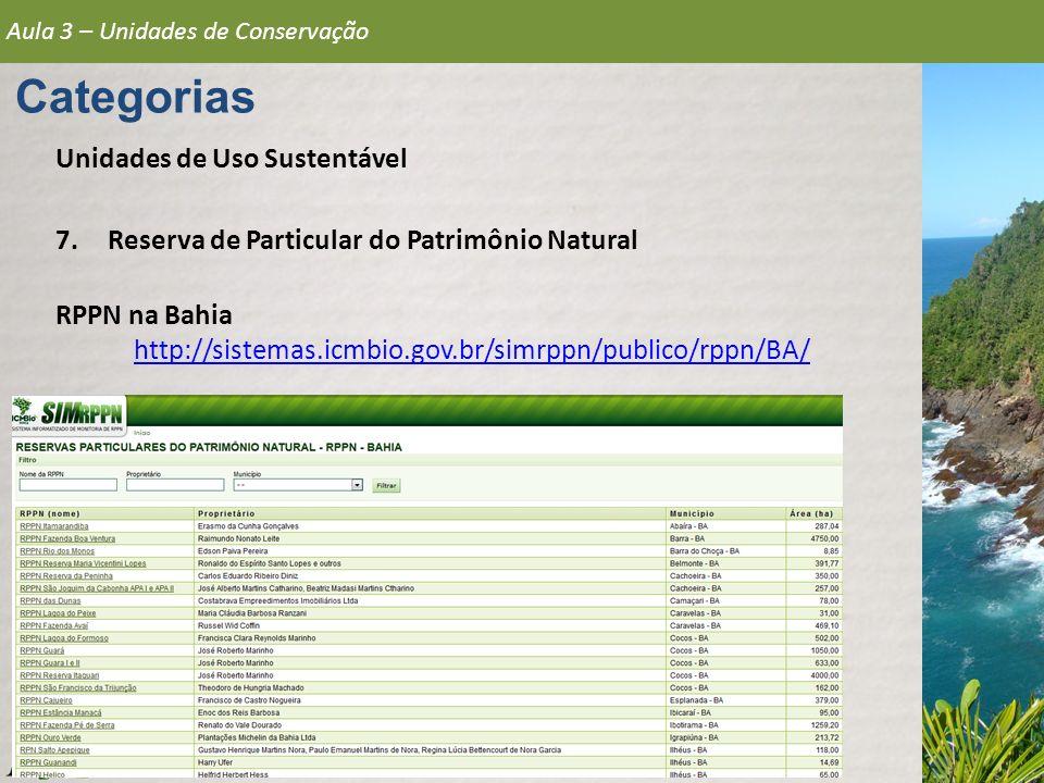 Aula 3 – Unidades de Conservação Categorias Unidades de Uso Sustentável 7.Reserva de Particular do Patrimônio Natural RPPN na Bahia http://sistemas.ic