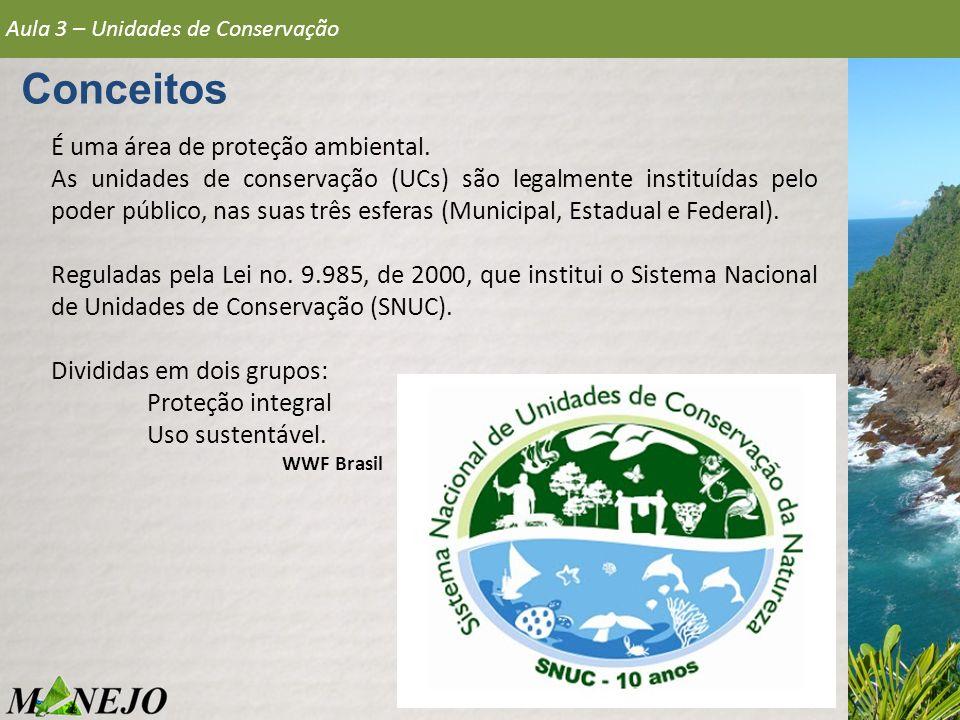 Conceitos É uma área de proteção ambiental. As unidades de conservação (UCs) são legalmente instituídas pelo poder público, nas suas três esferas (Mun