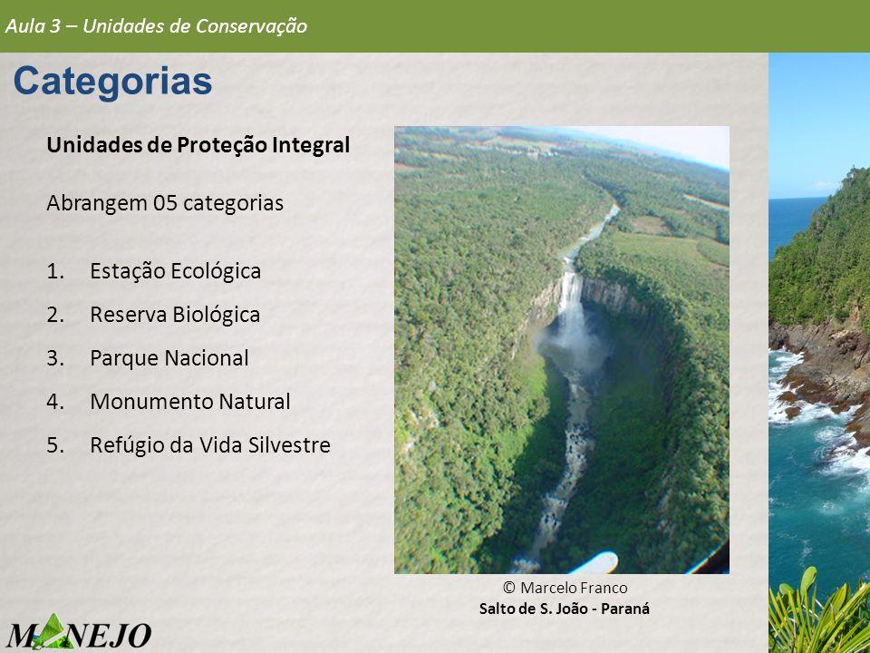 Aula 3 – Unidades de Conservação Categorias Unidades de Proteção Integral 1.Estação Ecológica Área destinada à preservação da natureza e à realização de pesquisas científicas, podendo ser visitadas apenas com o objetivo educacional.