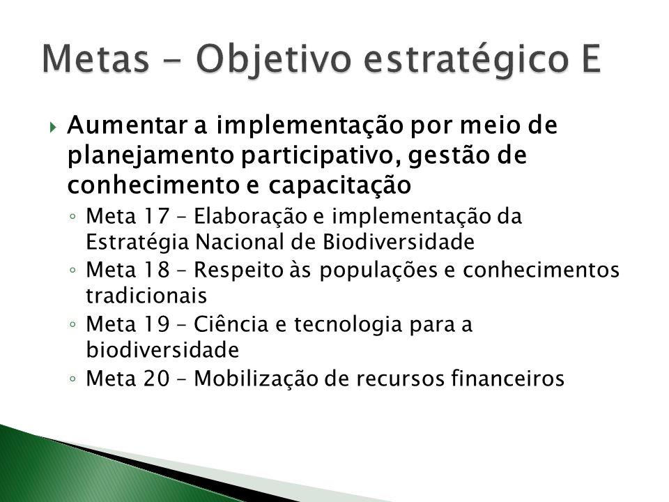 Aumentar a implementação por meio de planejamento participativo, gestão de conhecimento e capacitação Meta 17 – Elaboração e implementação da Estratégia Nacional de Biodiversidade Meta 18 – Respeito às populações e conhecimentos tradicionais Meta 19 – Ciência e tecnologia para a biodiversidade Meta 20 – Mobilização de recursos financeiros