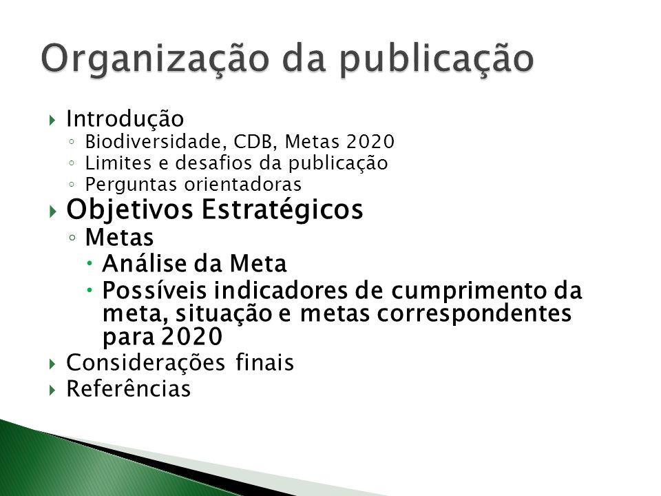 Introdução Biodiversidade, CDB, Metas 2020 Limites e desafios da publicação Perguntas orientadoras Objetivos Estratégicos Metas Análise da Meta Possív