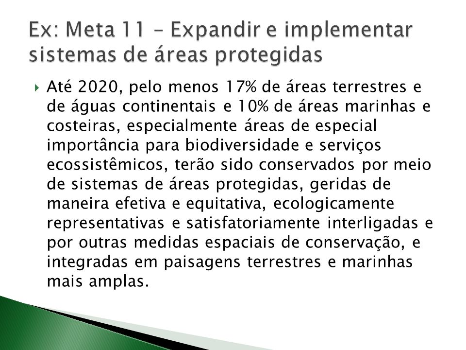 Até 2020, pelo menos 17% de áreas terrestres e de águas continentais e 10% de áreas marinhas e costeiras, especialmente áreas de especial importância para biodiversidade e serviços ecossistêmicos, terão sido conservados por meio de sistemas de áreas protegidas, geridas de maneira efetiva e equitativa, ecologicamente representativas e satisfatoriamente interligadas e por outras medidas espaciais de conservação, e integradas em paisagens terrestres e marinhas mais amplas.