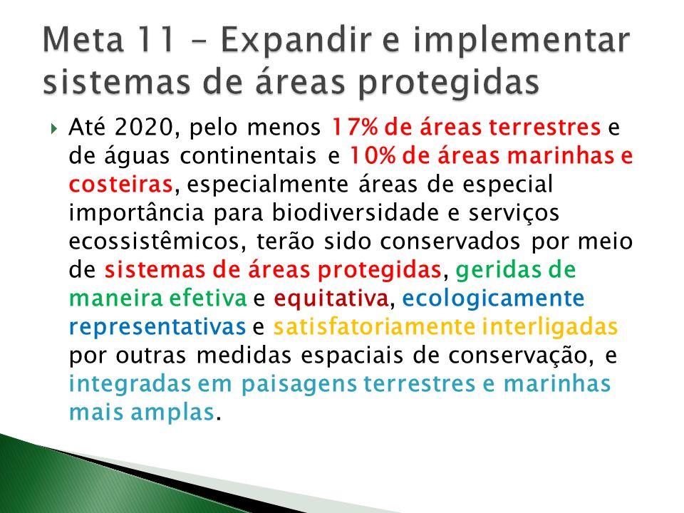 Até 2020, pelo menos 17% de áreas terrestres e de águas continentais e 10% de áreas marinhas e costeiras, especialmente áreas de especial importância para biodiversidade e serviços ecossistêmicos, terão sido conservados por meio de sistemas de áreas protegidas, geridas de maneira efetiva e equitativa, ecologicamente representativas e satisfatoriamente interligadas por outras medidas espaciais de conservação, e integradas em paisagens terrestres e marinhas mais amplas.