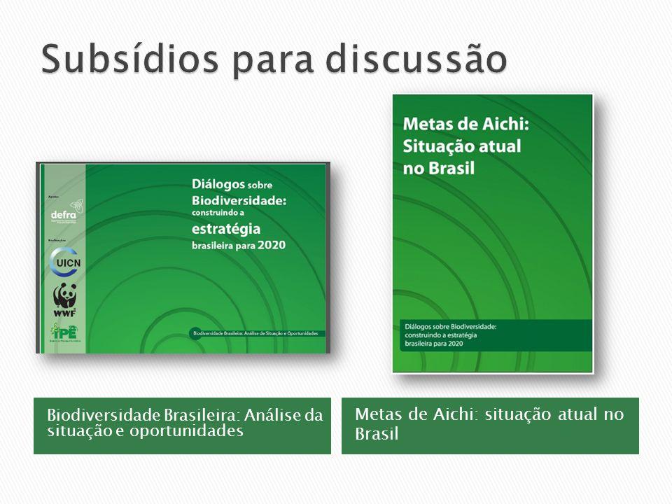 Biodiversidade Brasileira: Análise da situação e oportunidades Metas de Aichi: situação atual no Brasil