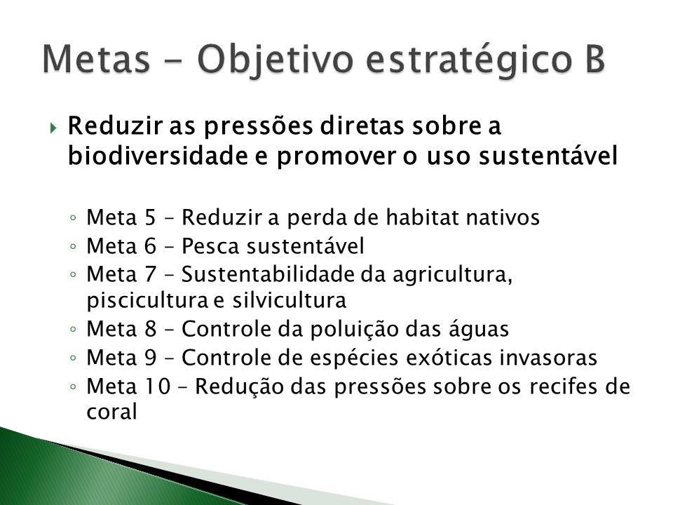 Reduzir as pressões diretas sobre a biodiversidade e promover o uso sustentável Meta 5 – Reduzir a perda de habitat nativos Meta 6 – Pesca sustentável Meta 7 – Sustentabilidade da agricultura, piscicultura e silvicultura Meta 8 – Controle da poluição das águas Meta 9 – Controle de espécies exóticas invasoras Meta 10 – Redução das pressões sobre os recifes de coral
