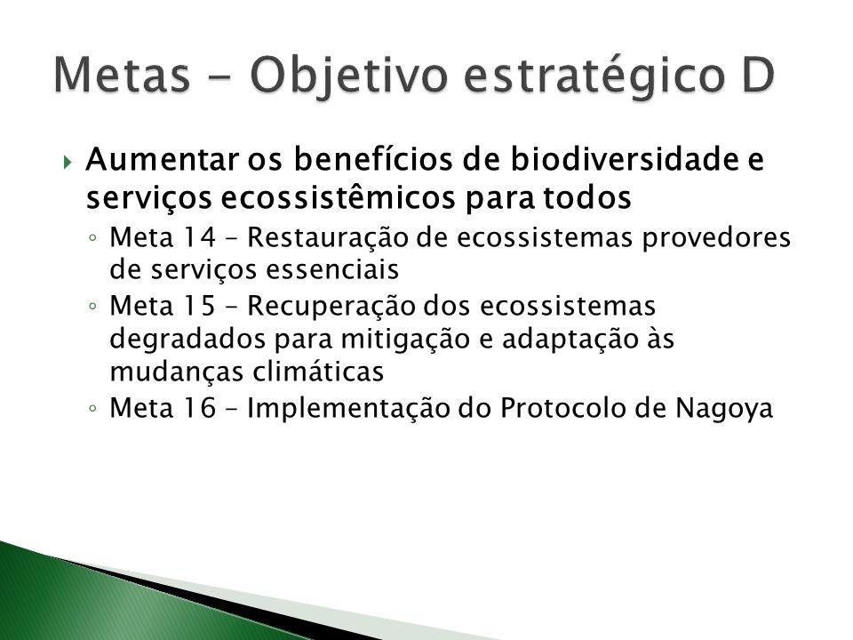 Aumentar os benefícios de biodiversidade e serviços ecossistêmicos para todos Meta 14 – Restauração de ecossistemas provedores de serviços essenciais Meta 15 – Recuperação dos ecossistemas degradados para mitigação e adaptação às mudanças climáticas Meta 16 – Implementação do Protocolo de Nagoya
