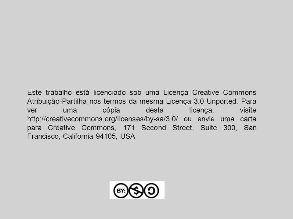 Este trabalho está licenciado sob uma Licença Creative Commons Atribuição-Partilha nos termos da mesma Licença 3.0 Unported. Para ver uma cópia desta
