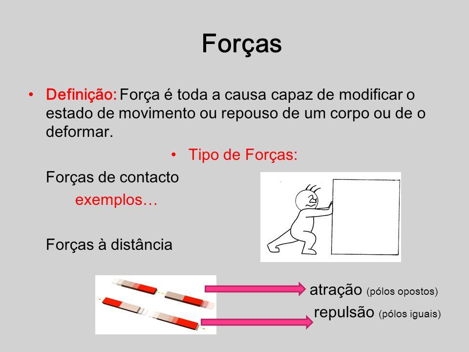 Definição: Força é toda a causa capaz de modificar o estado de movimento ou repouso de um corpo ou de o deformar. Tipo de Forças: Forças de contacto e