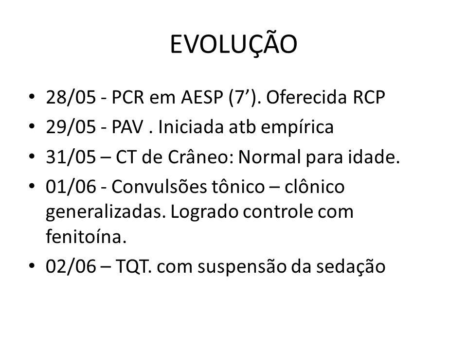 EVOLUÇÃO 28/05 - PCR em AESP (7).Oferecida RCP 29/05 - PAV.