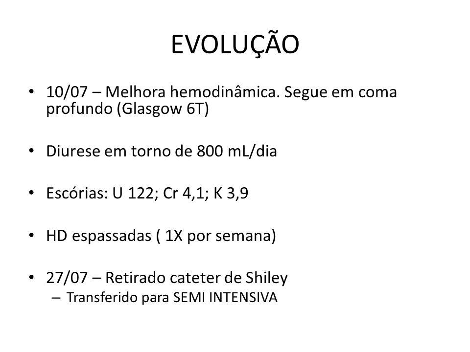 EVOLUÇÃO 10/07 – Melhora hemodinâmica.