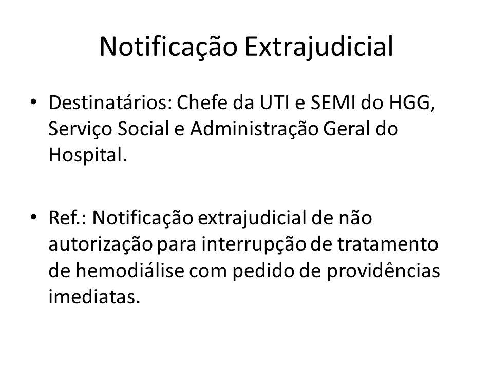 Notificação Extrajudicial Destinatários: Chefe da UTI e SEMI do HGG, Serviço Social e Administração Geral do Hospital.